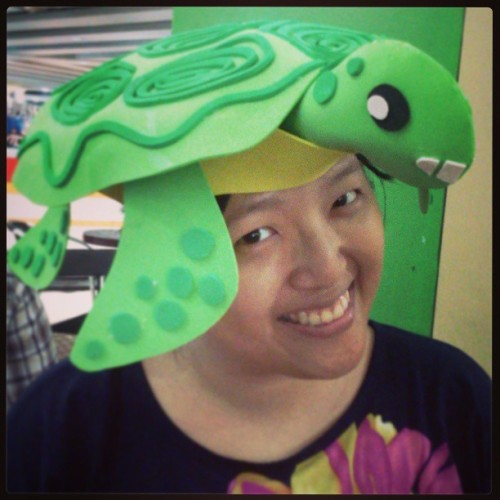 Sea turtle hat for the Seatizen's Festival promo video shoot tomorrow! Lovingly made by Jovan de Ocampo :D @starshuffler