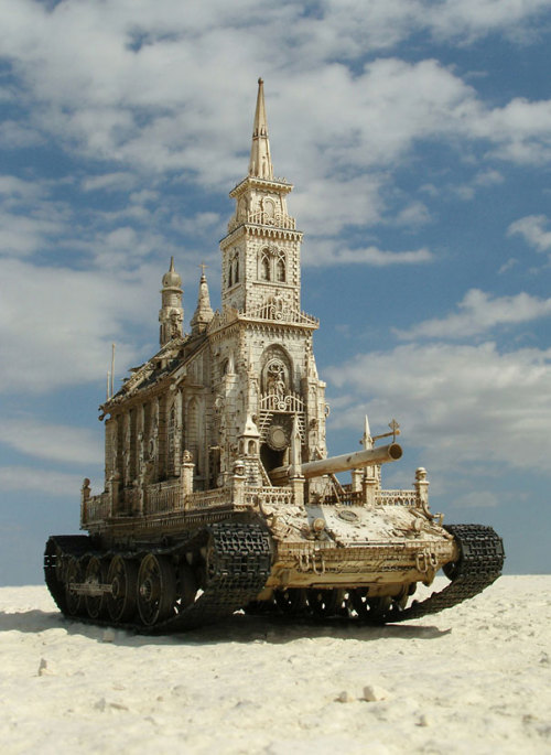 (via Churchtanks: Sculptures of Churches Turned Into Tanks)