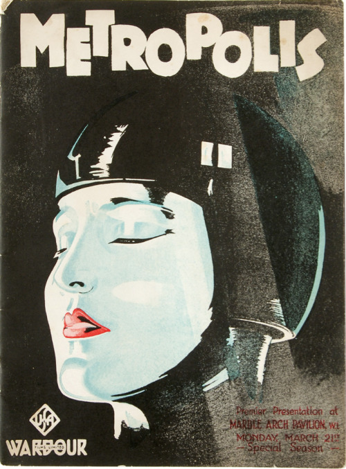 "mattfractionblog:  METROPOLIS ""Film programme booklet produced for the London premiere of Fritz Lang's Metropolis at the Marble Arch Pavilion on March 21, 1927. Not only a list of cast and crew, it includes eleven short pieces on the making of the movie, commentary from the director and cast, and numerous production photographs and film stills, many attractively arranged as modernist collages. One of the most interesting sections shows in parallel columns how a passage of film scenes was adapted from the novel of the same name by Lang's wife, Thea von Harbou."" (source) (via)"