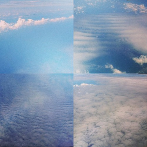 LOOK AT THE KINDS OF CLOUDS I MET UP IN THE AIR GUYS! ✈ #plane #up #in #the #air #blue #sky #cloud #high #instacollage