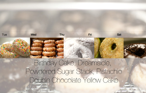 Doughnut Vault Specials Calendar 3.26.13- 3.30.13  Tuesday we're starting the week off with birthday cake doughnuts for the special. Following suit on Wednesday is the lovely dreamsicle. Thursday it's the ethereal powdered sugar stacks, and Friday is pistachio. And finally, get the weekend started with Saturday's special, double chocolate yellow cake doughnuts!