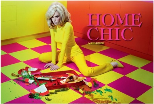 A typical Miles Aldridge editorial entitled 'Home Chic'for Vogue Italia October 2011, where he transformed his little sister Ruby Aldridge in a colorful housewife beautifully styled by Cathy Kasterine.
