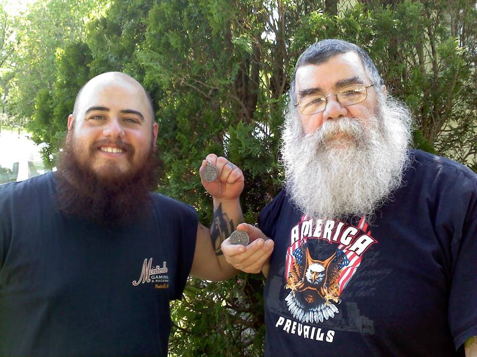 "Anthony Contello and his Pop Tony Contello. The family that beards together stays together.  Last night for the Mid-May sale. Use the discount code, ""MIDMAY"" for 15% off when you checkout at http://beardtoken.com/"