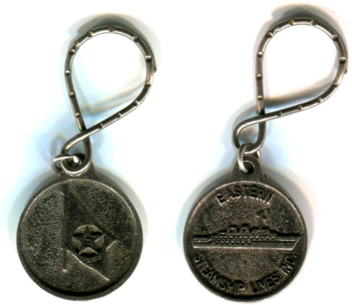 "This is a keychain from the Eastern Steamship Lines, which was founded back in 1901 as Eastern Steamship by a robber baron named Charles Wyman Morse. Morse was known as ""The Ice King"" in NYC (back when you had to purchase ice that was shipped into the city) and had strong connections with Tammany Hall. Morse found himself in legal trouble for stock manipulation and his involvement in the Panic of 1907. It was those legal troubles that help lead to the sale of Eastern Steamship. Over the years Eastern went through various hands and names. From what I can decipher it held the name Eastern Steamship Lines Inc. from 1917 – 1954. Over all of those years it maintained routes from New Brunswick to Norfolk, VA with routes in between (Except for a break during WWII where the ships were used in the war effort.) So this keychain came from sometime over that era. The name Eastern existed in one form or another until 1983 when it was merged with some other lines to form Admiral Cruises. Admiral still exists today and is part of the Royal Caribbean line. As far as how this keychain came into my family is a mystery. I found it in my Grandma Gen's basement and it was her brother Johnny that was a Merchant Marine and worked on the ore ships on the Great Lakes. So maybe that is how this came about. Or maybe simply my Grandma traveled on one of their ships at some point and picked this up as a souvenir."