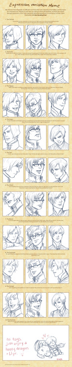 Expression meme exercise! Featuring (from the left) Ries, Alter, and Llyr. This was challenging but fun~   Original (blank) meme is here.