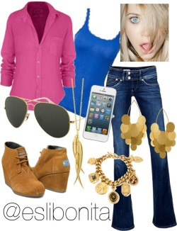 Super Casual ;) by esli-medrano featuring heart jewelryFrank & Eileen button front shirt / Vero Moda lacey top, $7.60 / TOMS wedge heel booties / Hervé Van Der Straeten  / Dinny Hall heart jewelry, $455 / Ben-Amun toggle bracelet / Ray-Ban military aviator sunglasses / Tech accessory