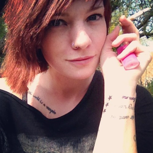 #altmodel #tattoo #stars #smoker #freckles #ginger #me #may #makeup #myself #nosering #outdoors #piercing #redhead #sg #selfy #smile #summer #suicidegirls