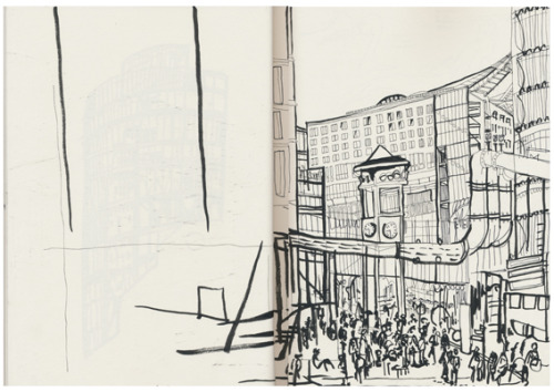 Potsdamer Platz, Berlin. Another location drawing from when I was living in Berlin, 2012