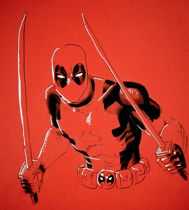 Here's a Deadpool commission, drawn on red paper.  I don't normally draw on colored paper, but this turned out pretty well!
