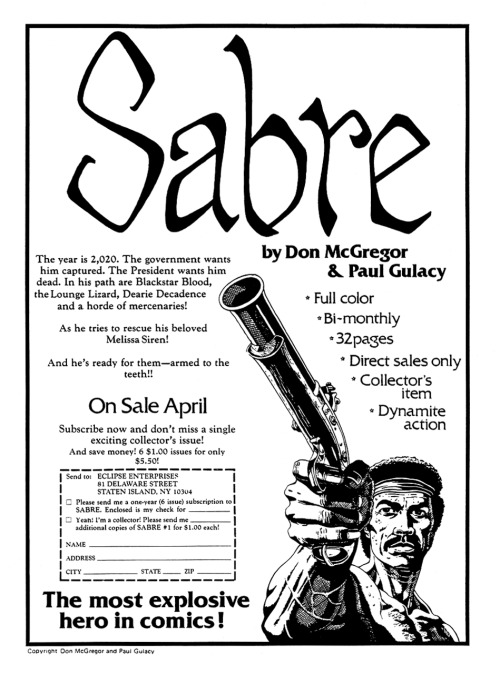 Promotional ad for Sabre by Don McGregor and Paul Gulacy, 1982.