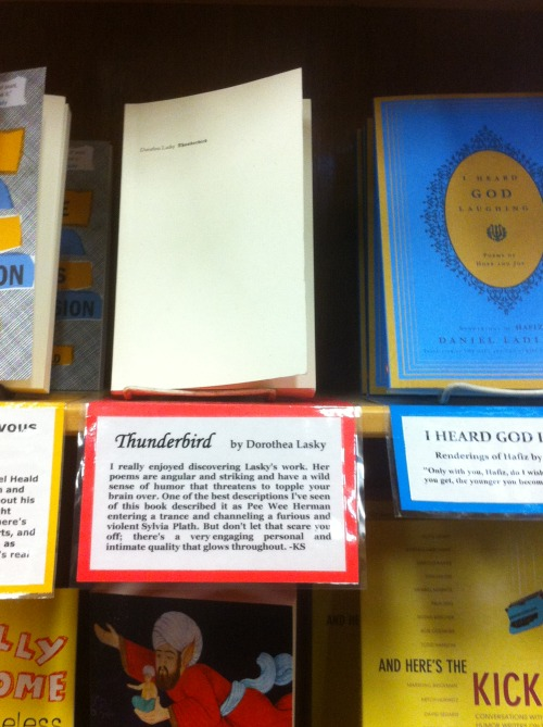 We were excited to see Thunderbird in the staff picks section of Powell's in Portland. Thanks, Powell's!