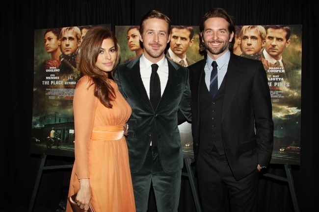 Eva Mendes, Ryan Gosling and Bradley Cooper at the NYC premiere of The Place Beyond the Pines at Landmark Sunshine on March 28, 2013