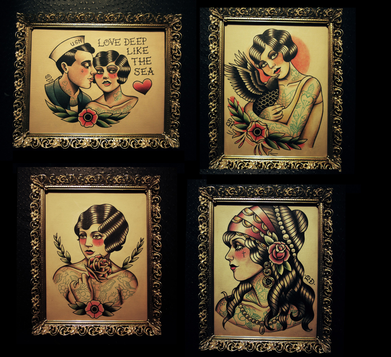 Original paintings by Quyen Dinh on Etsy - Parlor Tattoo Prints