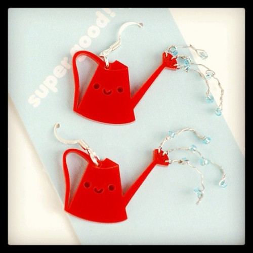 Happy Watering Can Earrings! http://www.shanalogic.com/happy-watering-can-earrings.html #handmade #cute