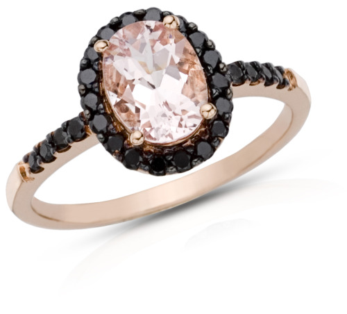 Morganite and Black Diamond Ring set in Rose Gold