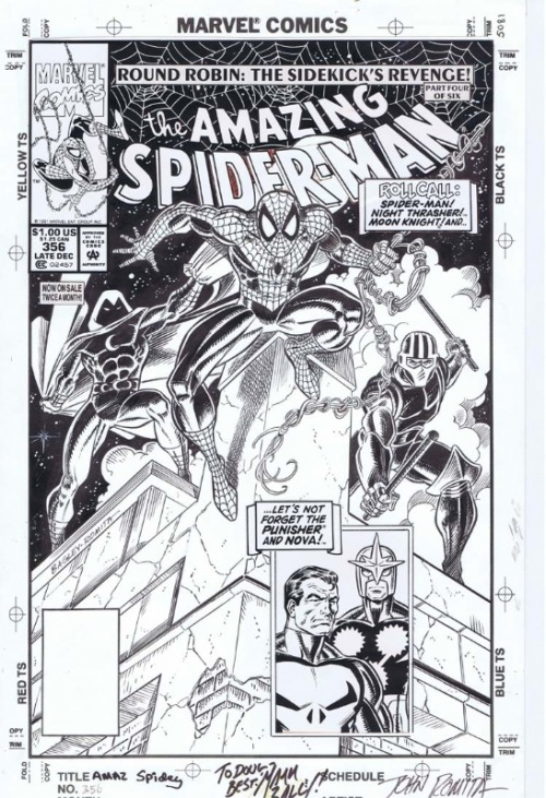 Cover to AMAZING SPIDER-MAN #356 by Mark Bagley and John Romita.