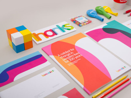 "Colorful Brand Identity Designworks Sydney was entrusted with the task to create a successful redesign for Benevolent Society, Australia's first and oldest charity organization. The motto ""Strong Together"" was visually illustrated by the brandmark's overlapping letters and the positive core internal pillars of love, hope, strength, wisdom, and belonging creating were illustrate by the broad spectrum of colors. More of the rebranding on WE AND THE COLORWATC//Facebook//Twitter//Google+//Pinterest"