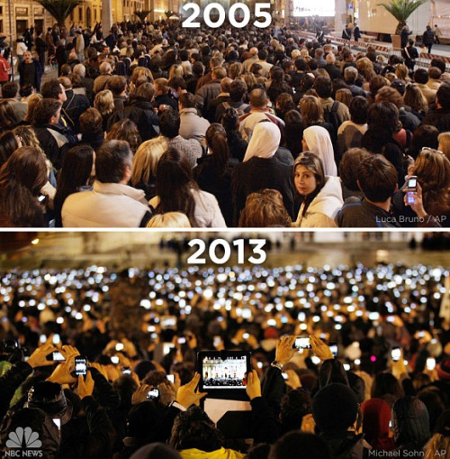 The crowd at the 2005 Papal election vs the crowd at the 2013 Papal election. What a difference eight years makes, for better or worse…
