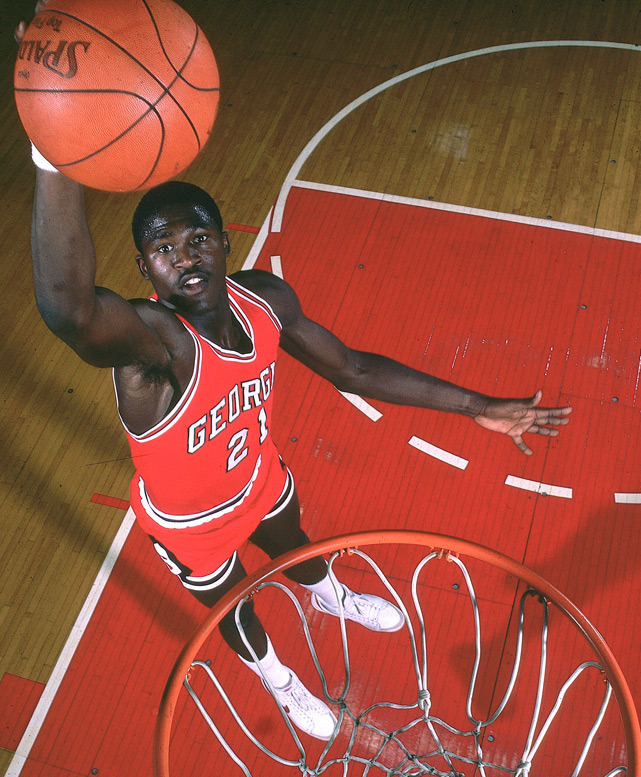 Georgia forward Dominique Wilkins dunks during a 1981 SI photo shoot. Wilkins averaged 21.6 points per game during his college career and was selected third overall by Utah in the 1982 NBA Draft. (Manny Millan/SI) SI VAULT: Wilkins is top dog of the dunk (11.30.81)