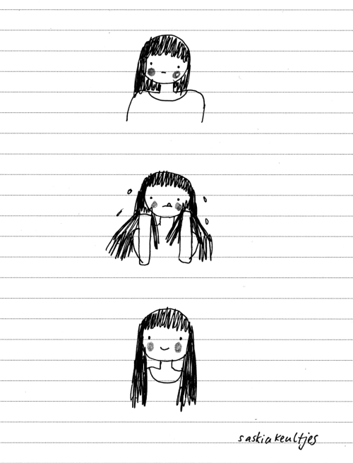 Today: my hair, oh my it's a loooooong story a mood drawing by Saskia Keultjes  facebook