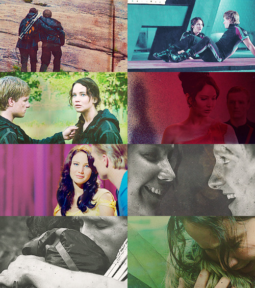 "leaveatrail:  Peeta & Katniss        ""Thanks for keeping hold of me. I was getting a little shaky there,"" says Peeta. ""It didn't show,"" I tell him. ""I'm sure no one noticed."" ""I'm sure they didn't notice anything but you. You should wear flames more often,"" he says. ""They suit you."" And then he gives me a smile that seems so genuinely sweet with just the right touch of shyness that unexpected warmth rushes through me."""