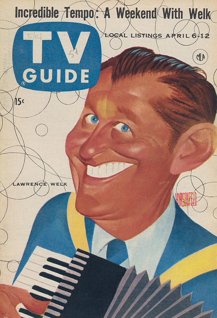 thepieshops:  TV Guide April 6-12, 1957 with Lawrence Welk ARTICLES Mitch Miller Comments on TV's Poor Handling of Music Two Refugee TV Stars Bell Telephone Gave First TV Show 30 Years Ago The Hands of ZaSu Pitts How To Sell Your TV Script The Hectic Life of Lawrence Welk Sgt. Preston's Husky Huskies