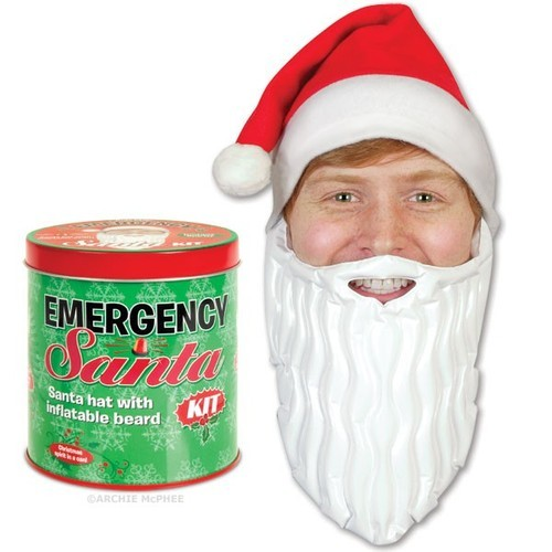 Emergency Santa Kit -  There are tons of situations year round that would be better with more Santa Claus, so tuck this easily transportable tin in your bag and be prepared! Comes with a red hat and a white Inflatable beard to transform you from ho-hum to ho ho ho. Long plane flight? Santa! Job interview not going well? Santa! Elevator stuck? Santa!