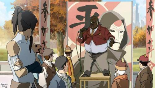 "blueeflashh:  Uncle Ruckus: "" Now I'm here to spread the great word of Amon! Don't go listening to that girly over there. Aang! Now that was an avatar! *mumbles* Mighta had questionable taste in the ladies…but he knew what he was doing! Am I right?!… Now I have song for ya, its called ""Don't trust that new avatar over there"", sing along if you know the words"""
