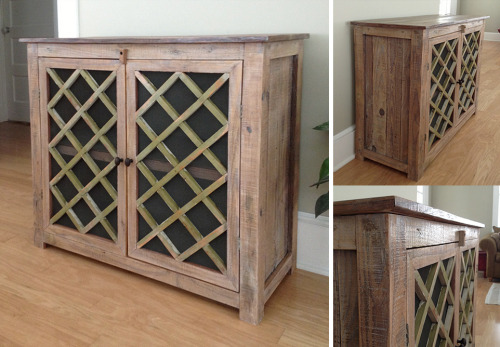 Console Cabinet. Made this on spec from rough hewn lumber and an old screen door. Put the finishing touches on yesterday (and sold yesterday)!