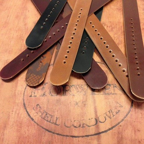 A few #shellcordovan NATO straps coming to @northerngrade this weekend… #madebyhand #madeinusa #leather #northerngrade (at Hellbrand Leatherworks)