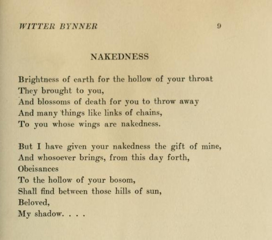 Nakedness by Witter BynnerOthers for 1919: an anthology of new verse edited by Alfred Kreymborg.