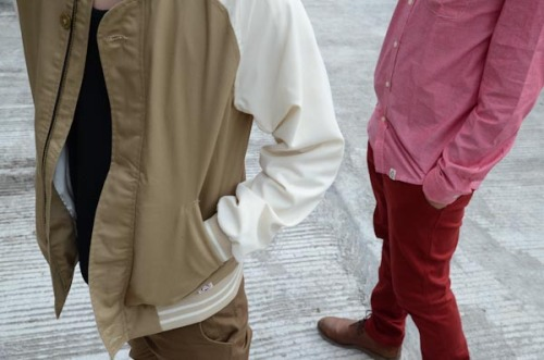 VARSITY BROWN JACKET | BROWN CHINO | RED CHAMBRAY SHIRT | MAROON CHINO | GET IT NOW ONLY AT CARNIVAL CLOTHING! @CRNVL