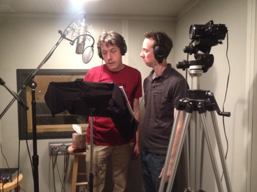 amazonstudios:  John Ross Bowie and Kevin Sussman, aka Kripke and Stuart from Big Bang Theory, hard at work on the voices for the animated comedy Dark Minions. They also created the show, which is on the Amazon Studios Development Slate. Look for the pilot to debut later this year at Amazon.com.