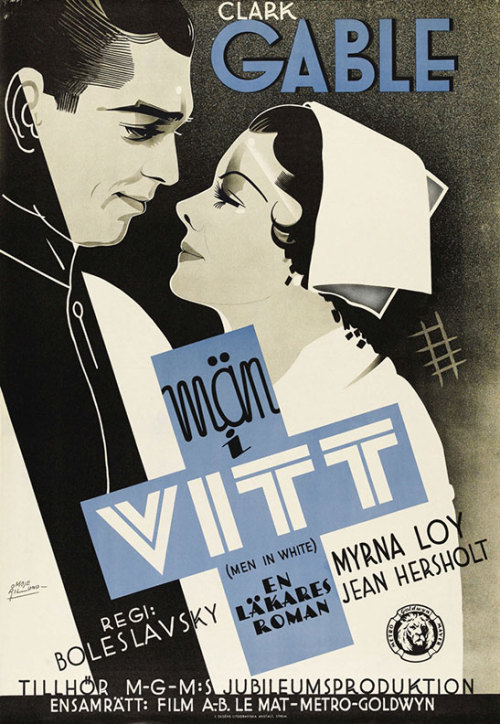 "movieposteroftheday:  Swedish poster for MEN IN WHITE (Richard Boleslawski, USA, 1934) Designer: John Mauritz (Moje) Åslund (1904-68) Poster source: Listal ""A dedicated young doctor places his patients above everyone else in his life. Unfortunately, his Social Register fianceé can't accept the fact that he considers an appointment in the operating room more important than attending a cocktail party. He soon drifts into an affair with a pretty nurse who shares his passion for healing."" -Wikipedia"