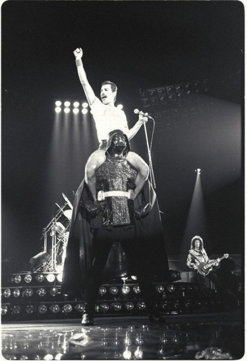 gasstation:  Freddie Mercury with Darth Vader, 1980
