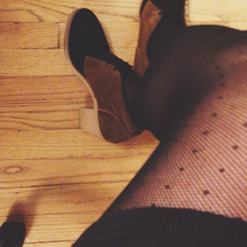 Polka dots and suede. #wiwt