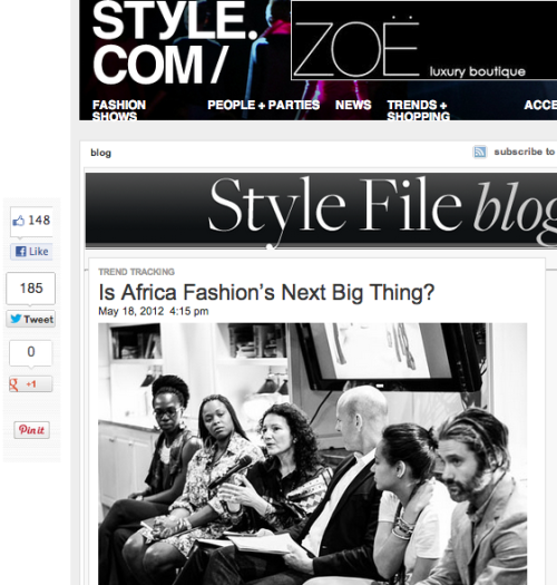 "QUOTED | Style.com, ""Is Africa Fashion's Next Big Thing?"" May 18, 2012 -   ""Until recently, Africa has largely been underserved within the global fashion and design scene, but the continent has always been chock-full of amazingly talented designers and artists,"" Owunwanne told Style.com. ""It was only a matter of time before the world stage started to give due recognition to the talent stemming from Africa. Diasporan trailblazers such as Duro Olowu and Ozwald Boateng set the stage for an appreciation of African designers. The fashion industry has barely tipped the iceberg with African designers and inspiration coming from the continent, though. There is so much more to discover—this is truly just the beginning!""  Continue reading here."
