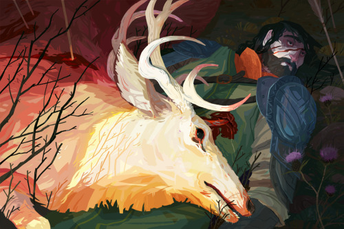 hannahchristenson:  The King and the Stag - I've always wanted to paint a deer, it was a lot of fun! You can also see this on my website if you'd like.
