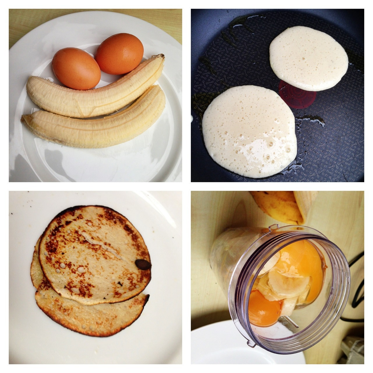 choose-healthy-over-skinny:  roadtofitness13:  My Banana pancakes for breakfast… Easy and fast AND HEALTHY  I tried them once - tasted like egg white omlette…urgh…