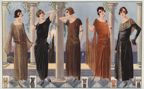 """Five women modeling 1920's French fashion, French fashion illustration by unknown artist, circa 1920."" [Corbis Images]"