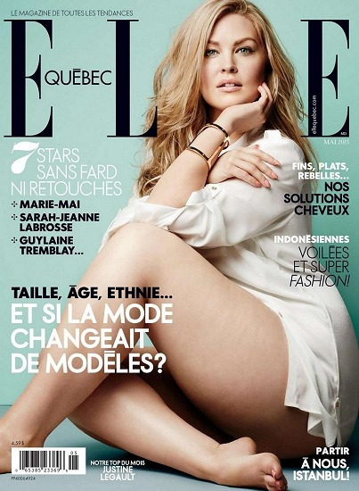 fullfiguredpotential:  Plus size model Justine Legault on the cover of ELLE Quebec May issue.   I'm going there in a week. FUCK YES.
