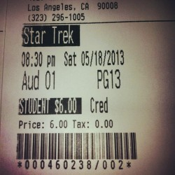 I'M SO EXCITED!!! #startrek #intodarkness Thanks for coming with me @duartee  😁 (at Rave Cinemas Baldwin Hills Crenshaw Plaza 15)