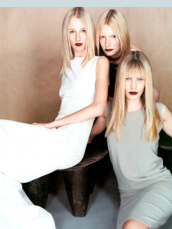 via caroline 1998 editorial by patrick demarchelier.  middle parts, pale skin, dark lips.