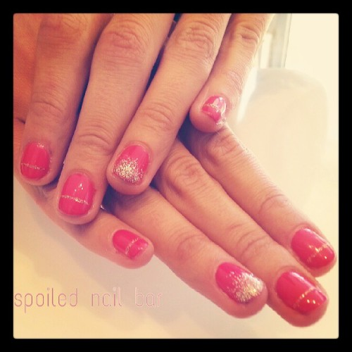 #hotpink #gel nails with #nailart #sparkletips #sparkle #line #partynails #funtimes #girly