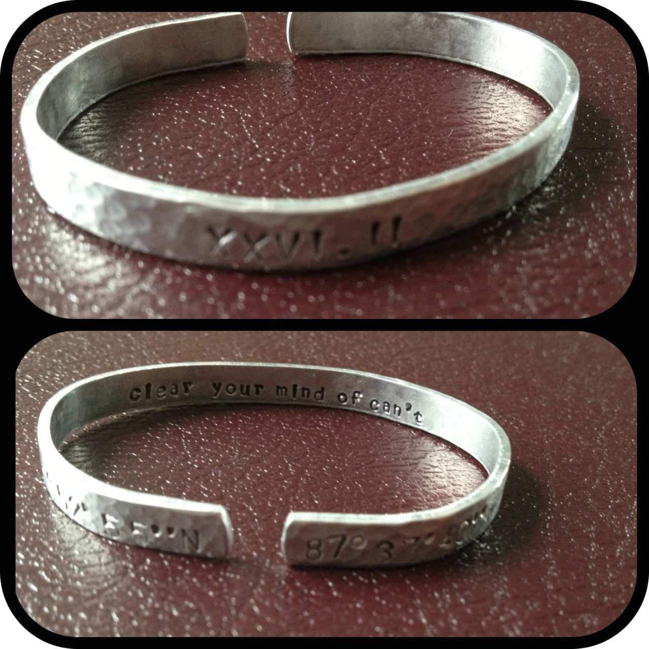 "Coordinates for Chicago with the mantra ""clear your mind of can't"". My Chicago marathon inspiration bracelet. I am definitely an accessory kind of gal."