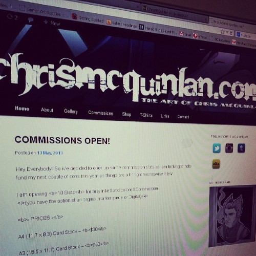 Now taking commissions! More details over at www.chrismcquinlan.com #commission #art #illustration #sketch #chrismcquinlan #