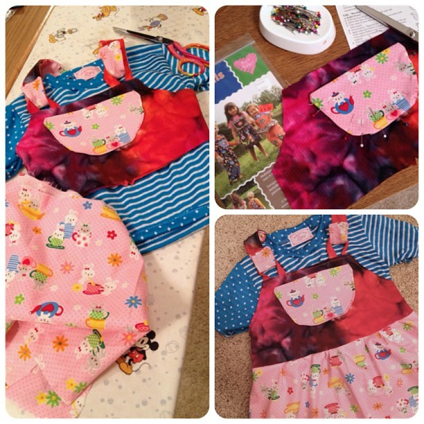 #sew much #fun!!! 💙💕🐰 #powerpuffkay #baby #babygirl #kawaii #cute #bunnies #dress #overalls #handmade #sewing #diy #batik #fabric #stripes #polkadots #blue #sewing #madewithlove
