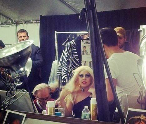 Gaga backstage at the Versus Versace fashion show last night.
