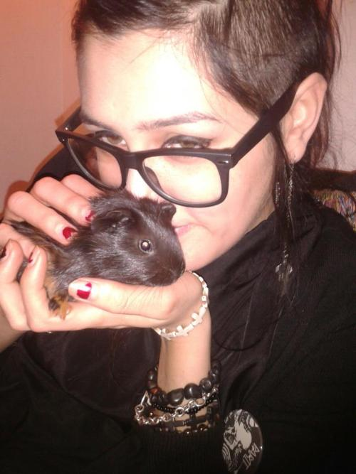 Me and my new baby guinea pig, Blacula.