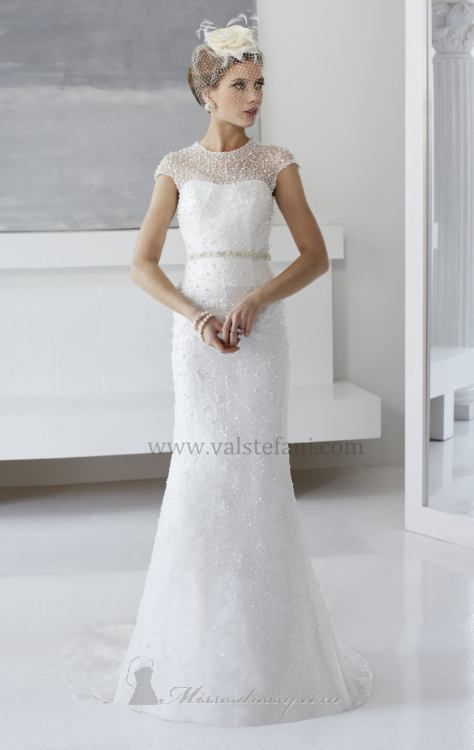 Sequined sheer lace wedding gown by Val Stefani  Shop it now, here.